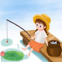 钓鱼的小女孩