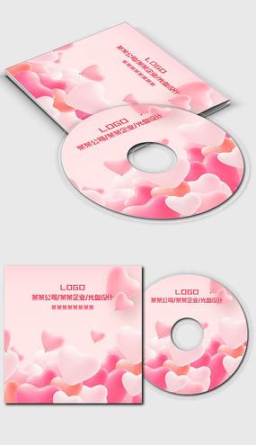 粉红色唯美浪漫婚庆婚礼光盘封面设计