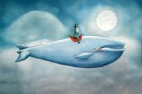 卡通鲸鱼客厅装饰画