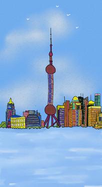 手绘城市地标建筑插画素材