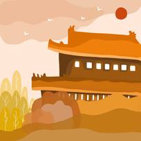 手绘建筑扁平风风景插画