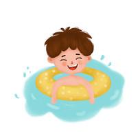 小男孩游泳玩耍
