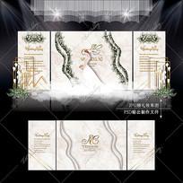 大理石纹婚礼效果图设计轻奢浪漫婚庆舞台