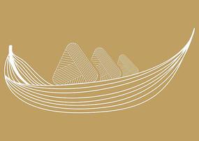 端午节龙舟粽子线条设计