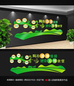 清新绿色学校食堂文化墙