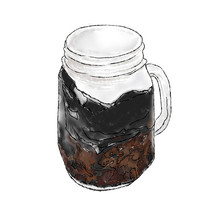 手绘烧仙草咖啡奶茶水果冷饮甜品美食插画