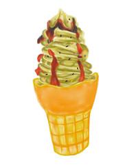 手绘水果抹茶冰淇淋冷饮美食插画