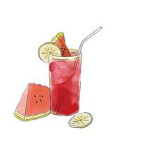 手绘西瓜汁冷饮水果冷饮美食插画