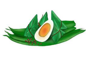 手绘粽子红豆美食节日插画