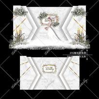 大理石婚礼效果图设计白绿色婚庆迎宾区背景
