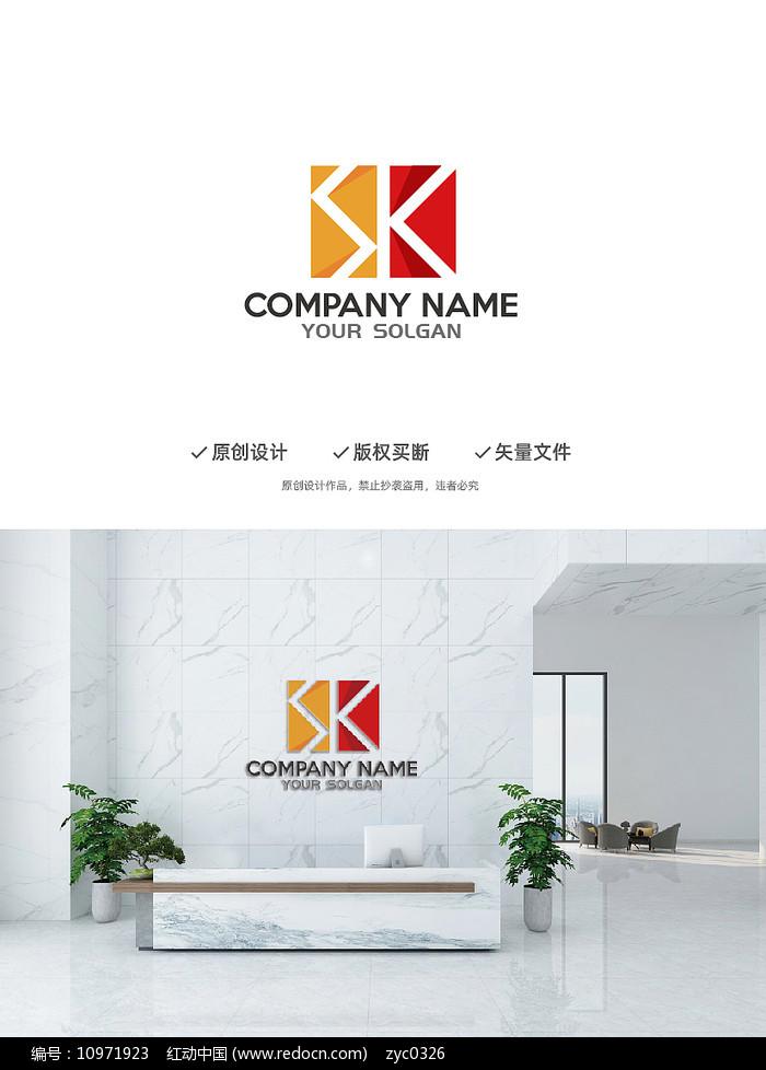 大气建筑立体SK字母造型设计企业标志LOGO图片