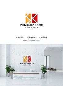大气建筑立体SK字母造型设计企业标志LOGO