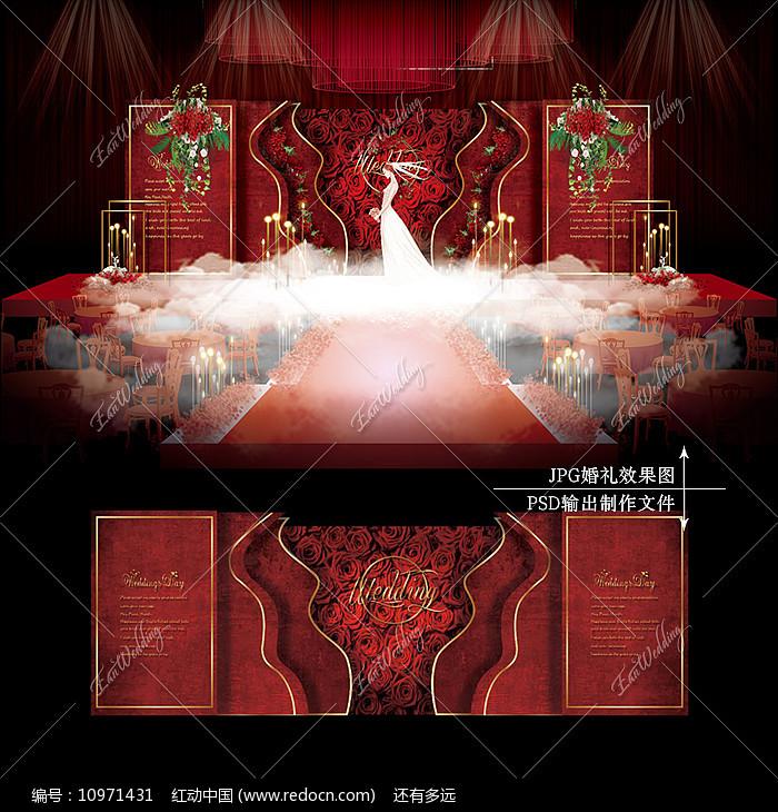 红金色主题婚礼效果图设计大理石纹婚庆舞台图片
