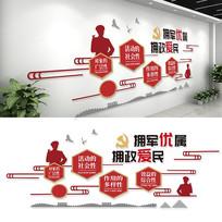 红色大气双拥文化墙