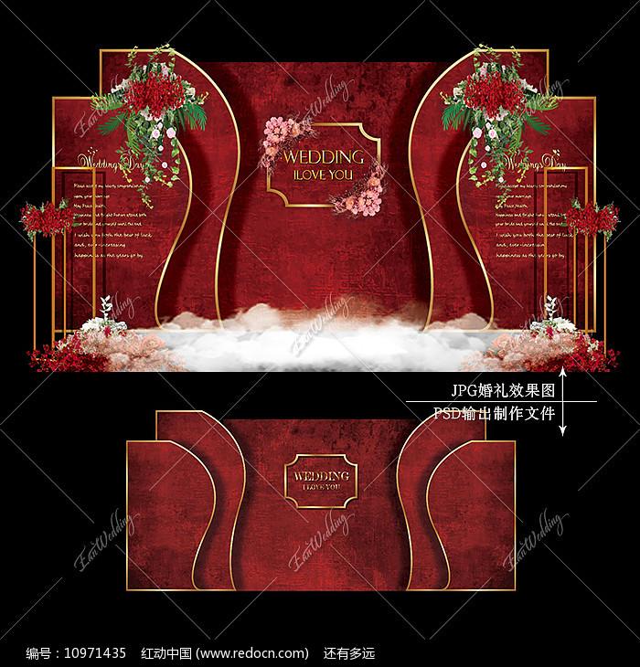 红色主题婚礼主舞台效果图设计婚庆迎宾区图片