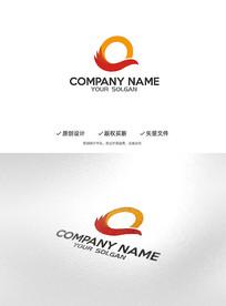 时尚飞鸟Q字母创意标志LOGO