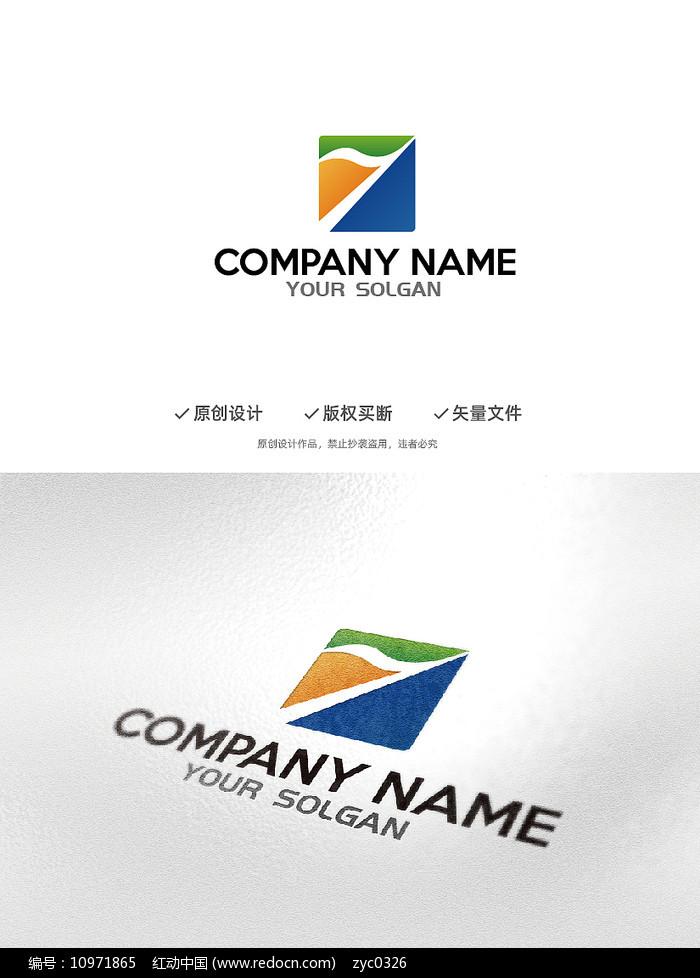 数字1旗帜造型企业标识图片