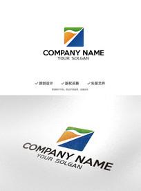 数字1旗帜造型企业标识