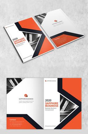 矩形橙色商务画册封面