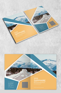 蓝黄色旅游画册封面