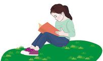 手绘读书插画