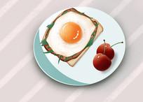 原创插画手绘三明治早餐汉堡元素