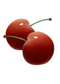 原创厚涂扁平插画水果樱桃元素