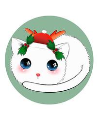 原创可爱卡通宠物圣诞猫