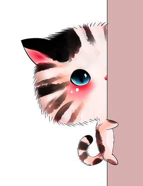 原创可爱卡通动物半遮脸抱墙猫