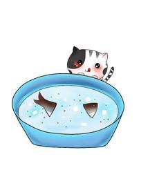 原创可爱卡通鱼汤馋嘴猫