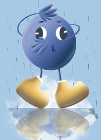 原创手绘插画卡通形象蓝莓元素