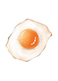 原创手绘鸡蛋早餐插画元素