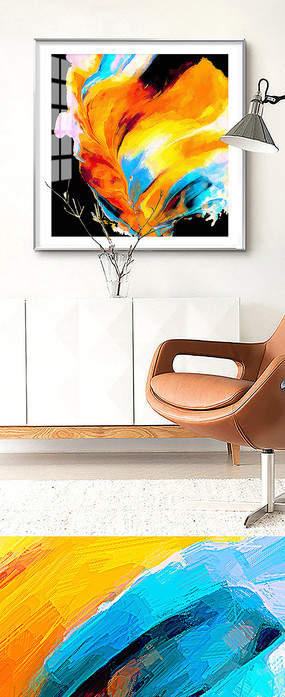 北欧抽象手绘油画室内装饰画