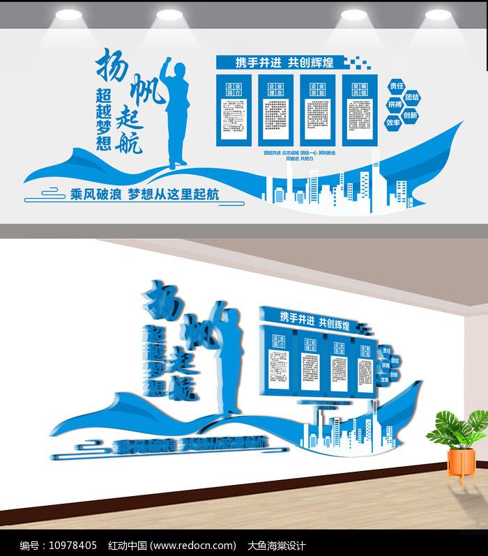 蓝色创意扬帆起航企业文化墙图片