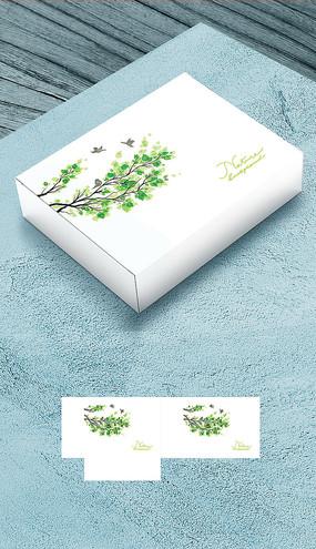 六一儿童节树叶礼盒包装平面图