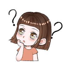 原创插画疑问的小女孩头像