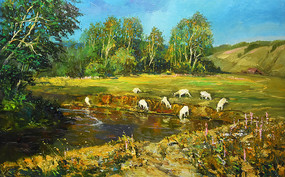 高清草原牧羊风景油画背景墙