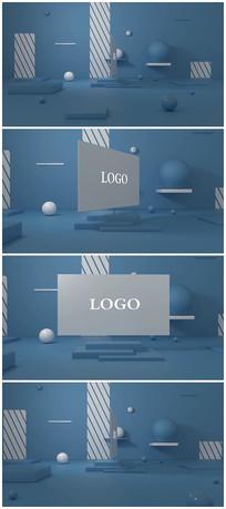 简约蓝色卡通logo视频模板