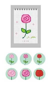 矢量方格笔记本像素画CDR玫瑰花