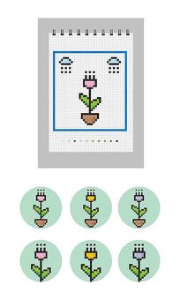 矢量方格笔记本像素画CDR雨天的小花