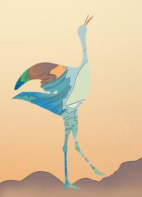 原创扁平插画鸵鸟风景元素