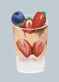 原创插画厚涂冰激淋杯雪糕杯元素