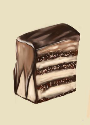 原创插画厚涂巧克力蛋糕元素