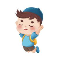 原创卡通跳跃的小男孩