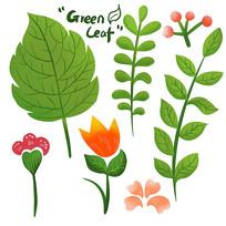 原创卡通叶子树叶花朵元素
