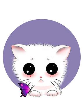 原创可爱卡通动物宠物蝴蝶猫