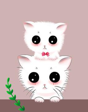 原创可爱卡通动物堆叠猫