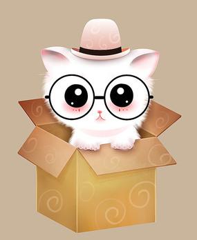 原创可爱卡通动物纸箱萌猫