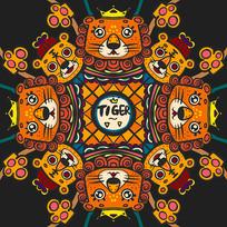 原创可爱小狮子小老虎图案