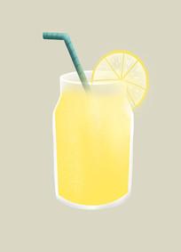 原创手绘扁平插画夏天柠檬汁饮料元素